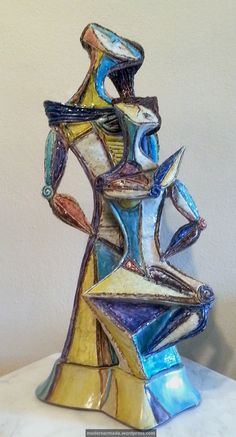 """Beautiful Marcello Fantoni cubist figure sculpture entitled """"Gossiping Ladies"""" created in May 1956 for Raymor."""