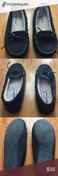 Dark Grey Minnetonka Moccasins I'm very good shape with a lot of life left. Only flaw is minor tearing on both outer toe areas. Super comfortable, warm, and cute! Minnetonka Shoes Moccasins