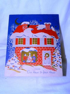 Vintage Christmas Greeting Card, Christmas Scrapbooking, Collage, Mixed Media, X-Mas on Etsy, $10.00