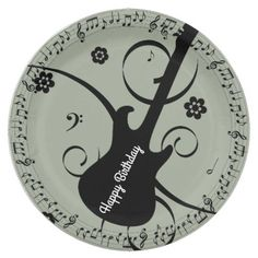 Happy Birthday Black Music Notes Guitar Flowers Paper Plate
