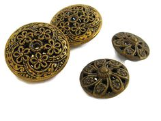4 vintage metal buttons filigree mirror backs 2 by mudintheUSA