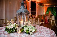 Vintage or rustic wedding reception - damask tablecloth