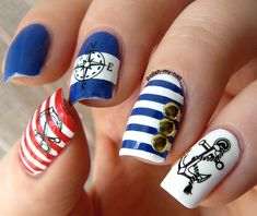 Inspiration on Sailor Nails by Ana Martinez. Check out more Nails on Bellashoot. Navy Nail Art, Navy Nails, Cute Nail Art, Beautiful Nail Art, Get Nails, Hair And Nails, Sailor Nails, Marine Nails, Nautical Nails