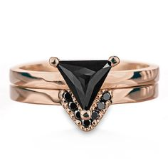 Triangle Black Diamond Ring, 14k Rose Gold