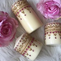Ikea Candles, Diy Candles, Pillar Candles, Recycled Paper Crafts, Henna Candles, Mehndi Decor, Candle Art, Plastic Bottle Crafts, Candle Making