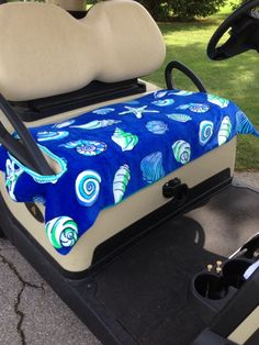 Shell Shock Golf Cart Seat Cover 2 layers quality terry cloth make these seat covers cool in heat and cozy on cold damp days Golf Cart Seats, Golf Cart Seat Covers, Indoor Mini Golf, Golf Crafts, Yamaha Golf Carts, Picnic Decorations, Custom Golf Carts, Golf Theme, Golf Drivers