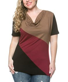 Mocha & Burgundy Color Block Drape Top - Plus