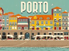 Rui Ricardo - Porto on Behance Poster Retro, Poster Art, Gig Poster, Travel Book Layout, Travel Books, Wine Tourism, Tourism Poster, Travel 2017, Travel Illustration
