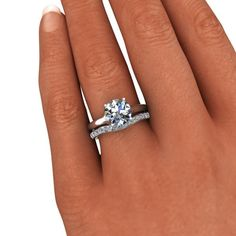 Absolutly love this Forever Brilliant Moissanite Engagement Ring Set 3.00 CTW, size 9.5