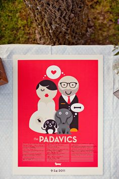 the graphic nature of this invitation reminds me of the two of you, especially the dogs and thought bubbles..so cute, but change the colors of course
