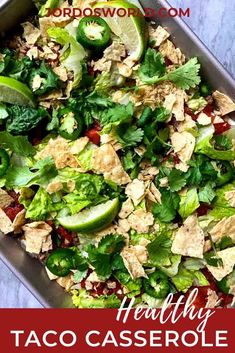 Why make one taco when you can make an entire pan? Get a tasty taco casserole with this quick and easy 30-minute healthy dinner recipe! Healthy Tacos, Healthy Food Options, Healthy Appetizers, Healthy Dinner Recipes, Easy Oven Recipes, Beef Recipes, Easy Meals, Easy Taco Casserole, Macro Friendly Recipes