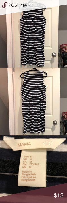 H&M Maternity V Neck Dress LIKE NEW! Navy blue striped v neck maternity dress. 50% cotton 50% modal H&M Dresses