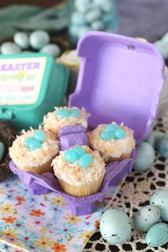 Cupcakes in an Egg Carton--WHEN do these two women find time to do all this wonderful baking, cooking, etc? I love their recipes, my daughter-in-law makes their chicken taquitos and they are divine. Easter Cupcakes, Mini Cupcakes, Cupcake Cakes, Spring Cupcakes, Coconut Cupcakes, Cheesecake Cupcakes, Cupcake Frosting, Hoppy Easter, Easter Gift