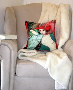 surreal art pillow cover,naked women,adult art,fish,life aquatic,turquoise,red,eco friendly organic cotton,decorative pillow,43cm x 43cm