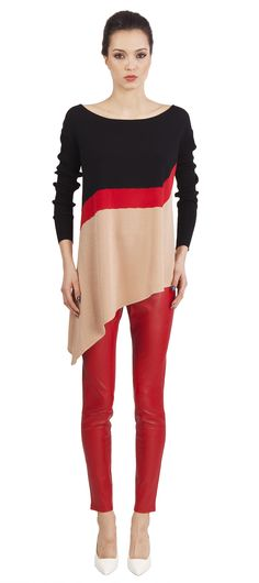Catherine Malandrino: asymmetrical design top and red leather skinny pants