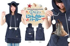 Summer Mewgaroo Hoodie with Pet Pouch (Navy)
