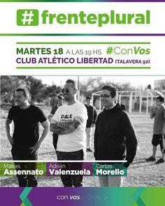 Martes 18 Julio - 19 hs Club Atlético Libertad - Talavera 50  #FrentePlural #Salta #Agenda #Evento #Prensa #Noticia #Medios #Politica #GobiernoDeSalta #SaltaTuCiudad #GobiernoDeLaProvinciaDeSalta #Argentina #PasaLaData #QueHacemosSalta #QHSalta #QHS Toda la info que necesitas la podes encontrar aquí  http://quehacemossalta.com/