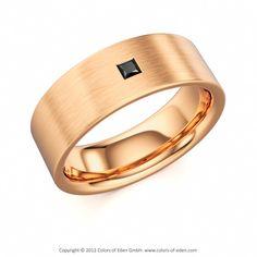 Rose Gold Satined Black Diamond Men's Ring Quantum #mens #ring