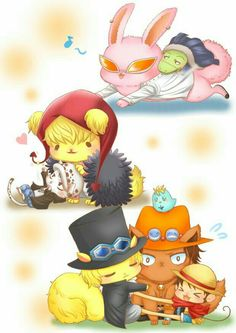 Doflamingo, Crocodile, Corazon, Law, Ace, Sabo, Luffy, cute, animals, bunny, rabbit, cat, neko, young, childhood, squirrel, monkey, dog; One Piece