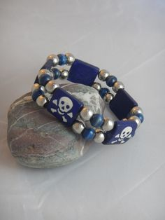 Pirate Skull and Crossbone Double Stranded Stretch Blue and Silver Beaded Bracelet by StoneJewelsByAng on Etsy