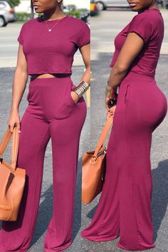 4812b21ffff Lovely Casual Loose Purple Qmilch Two-piece Pants Set Two Piece Pants Set