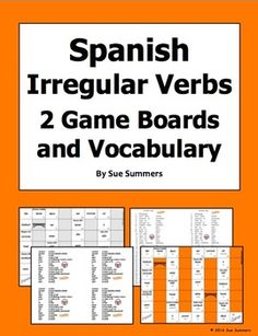 Spanish Irregular Verbs 2 Board Games and Vocabulary by Sue Summers Students practice irregular verb meanings and conjugations in a fun, interactive way with these games!  There are two 32 square board games containing 15 different common Spanish irregular verbs.