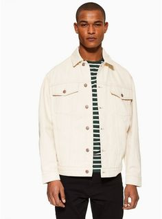 Mens Cream Off White Denim Jacket With Embroidery Discount Gift Cards, White Denim, Off White, Chef Jackets, Shirt Dress, Embroidery, Cream, Mens Tops, Shirts