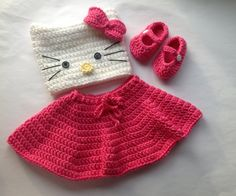 Handmade Crochet Hello Kitty outfit set hat skirt and by SueStitch, $14.99
