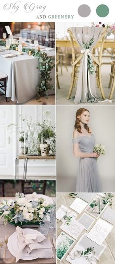 sky gray and greenery wedding color combos with grey bridesmaid dress