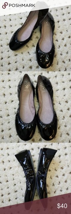 Vince Camuto Black Patent Leather Ballet Flats Perfect classic everyday flats! Easy slide on with elastic fit upper for a timeless appeal and a flattering fit. Ellen Ballet Flats style in a shiny patent leather. Light purple interior. No signs of wear and no flaws. Vince Camuto Shoes Flats & Loafers