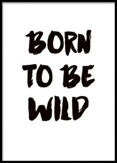 Affisch med text born to be wild i svartvitt
