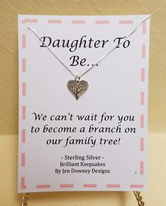 Daughter In Law Gift Idea Welcome to the Family Sterling by BrilliantKeepsakes Daughter In Law Gifts, Welcome To The Family, Love Heart, Bridal Shower, Birthdays, My Love, How To Make, Handmade, Etsy
