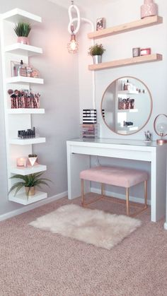 dream rooms for teens * dream rooms ; dream rooms for teens ; dream rooms for adults ; dream rooms for women ; dream rooms for couples ; dream rooms for adults bedrooms Home Decor Shelves, Cute Room Decor, Cheap Room Decor, Flower Room Decor, Cute Office Decor, Room Ideas Bedroom, Room Decor Bedroom Rose Gold, Teen Bedroom Designs, Cheap Bedroom Ideas