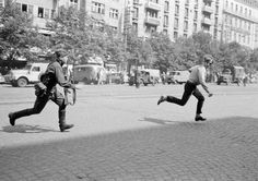"""Soviet soldier chases a young man who had thrown rocks at a tank during the Prague Spring, 1968. [[MORE]] """" Prague Spring was brief period of liberalization in Czechoslovakia under Alexander Dubcek in 1968. Soon after he became first secretary of the..."""
