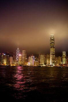 HK by Night from the Star Ferry