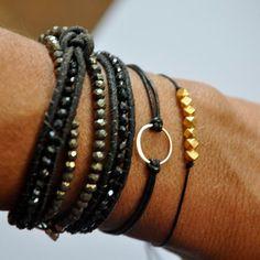 sterling silver circle bracelet Leather Karma by BeCharmedDesigns, $24.00