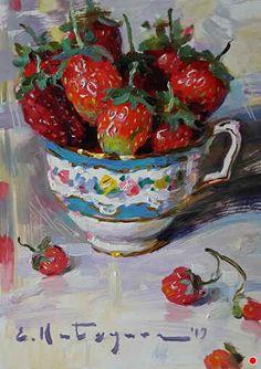 Tea Cup Art, New Artists, Tea Pots, Berries, Strawberry, Fine Art, Fruit, Gallery, Crafts