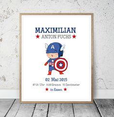 """Geburtsanzeige """"Captain America"""" Kinderzimmer Kunstdruck"""