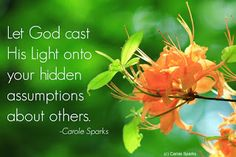 Carole Sparks reminds us to  see others as God sees them.