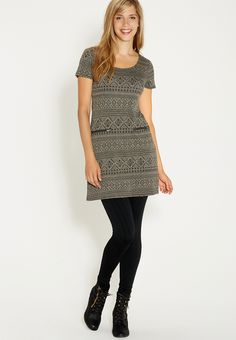 ethnic print dress with textured fabric and zipper pockets - #maurices
