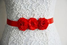 Red Bridal Sash Belt Chiffon Flowers for Gown by HandMadeBloom