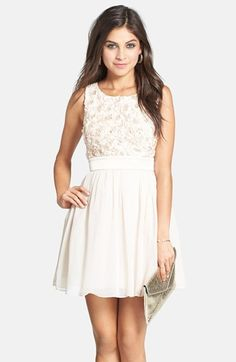 a4c3feb4a14 a. drea Rosette Bodice Skater Dress (Juniors) available at  Nordstrom Ivory  Dresses