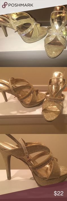 Gold heels with diamond accents Stunning raised sole shoes. Extremely comfortable and perfect for weddings or proms or ANY fancy occasion. Worn once. Love these but have nowhere to wear them! marichi mani Shoes Heels