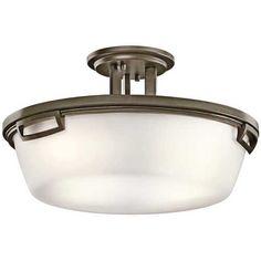 Kichler Modern Bronze Semi-Flushmount Light with White Glass at Destination Lighting