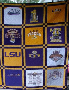 T-shirt Quilt -Made to Order-Double Sashing (12 Blocks). $190.00, via Etsy #LSU