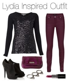 Teen Wolf - Lydia Inspired Outfit by stardustonthepiano on Polyvore featuring Modström, Lipsy, Nine West, Forever 21 and Smashbox