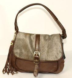Nwt Nanette Lepore Brown Fur Extreme Buckle Large Leather Hobo Handbag Nanettelepore