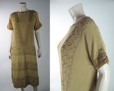 1920's Hand Embroidered Drop Waist Tunic Dress In Larger Size | eBay