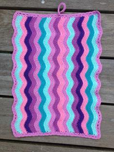 Lille håndklæde, ville lære at hækle bølgede striber #chrochet