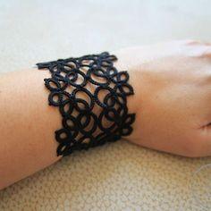 Tatted bracelet  #tatting #jewelry #bracelet #handmade #lacy #black #gothic frywolitka #biżuteria #bransoletka #rękodzieło #koronkowa by izabelkasjewelry